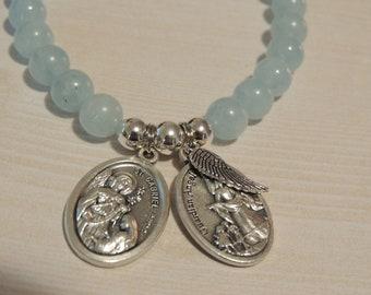 8mm Gemstone Handmade Jewelry Aquamarine Gemstone Bracelet St Gabriel Arch Angel Medal with Guardian Angel /& St Michael Tiny Wing Charm