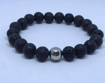 Mens Black Lava Volcanic Beads with Stainless Steel Metal Beads - Stretch Bracelet - 10mm Gemstone