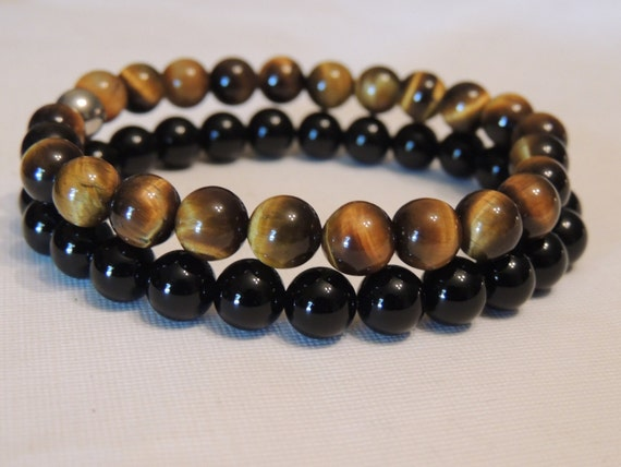 tiger eye and black onyx gemstone healing bracelet  with angel charm elasticated