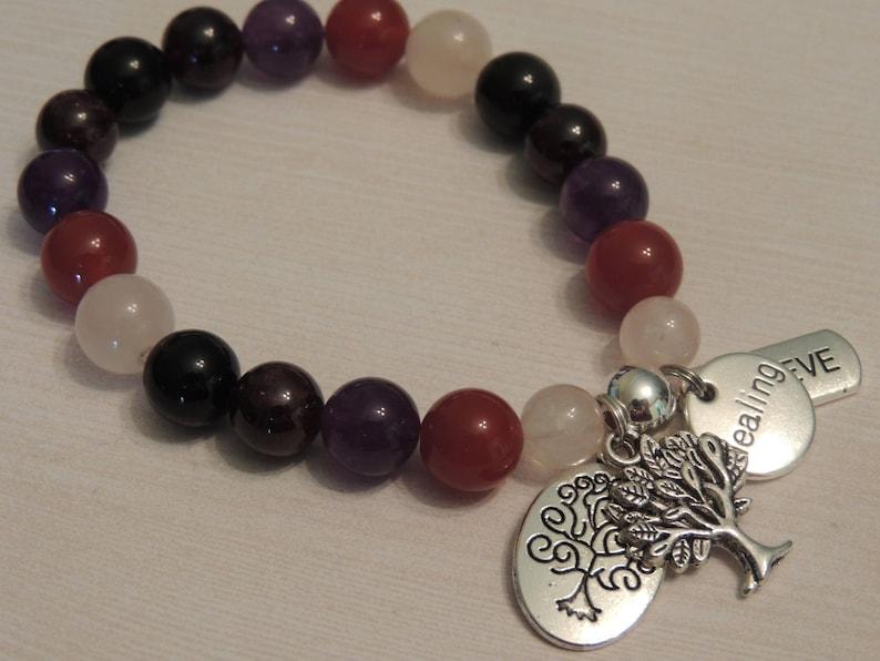 Powerful Healing Gemstone Bracelet-Carnelian-Amethyst-Garnet-Black Onyx-Tree of Life-Healing Believe Charms