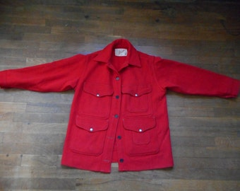 vintage 60s genuine filson red mackinaw cruiser seattle usa union made solid cruiser wool outdoor hunting jacket