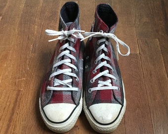72618b383ba6 vintage 90s converse all star chuck taylor hi top red grey shadow plaid  flannel sneakers made in usa size 5 (womens 7)