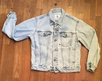 vintage 90s calvin klein jeans worn in CK denim trucker jacket made in usa S 8eda23e493c5e