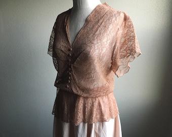 vintage 40s neutral brown floral lace v neck short sleeve scallop hem see through peplum blouse