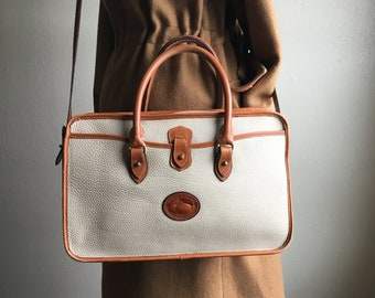 vintage dooney and bourke all weather tan pebble leather cross body satchel  briefcase handle bag made in usa a005f1ef11212