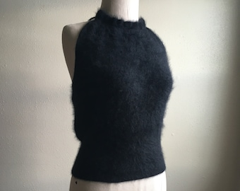 4adc26929bc6 vintage 70s for judys angora wool blend black halter sweater top made in  italy