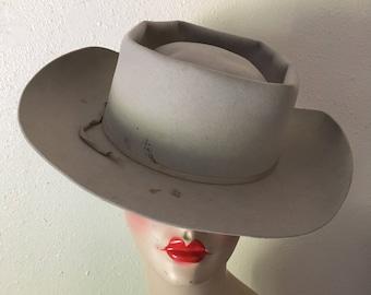 vintage 50s resistol grey felt xxx beaver hand creased self conforming western  cowboy hat 80a09eaaac95
