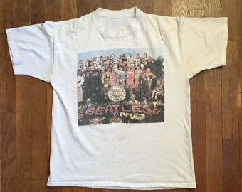 vintage 90s 1990 the beatles sgt peppers lonely hearts club band front back t shirt