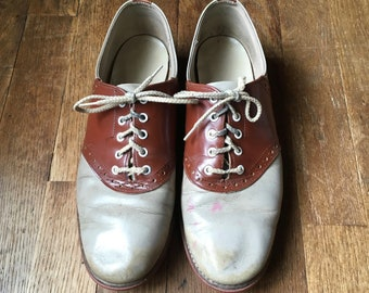 a02dd1e20a2d vintage 50s womens saddle shoes two tone leather tan and brown