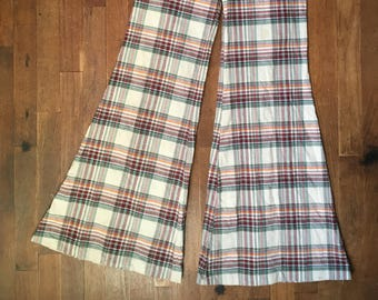 vintage 70s plaid madras bell bottom talon zip fly pants 28 x 28 AnsGRy