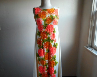 27df34aa416a vintage 60s ui maikai Hawaiian floral empire waist zip up watteau back  cotton maxi dress