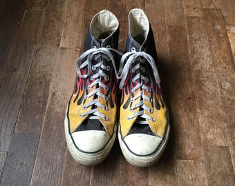 8cb470832387dc vintage converse chuck taylor hi top all star flames canvas sneakers mens  shoe size 12 1 2