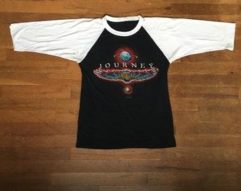 684b6137d784 vintage 80s 1900 journey departure captured escape tour raglan baseball t  shirt