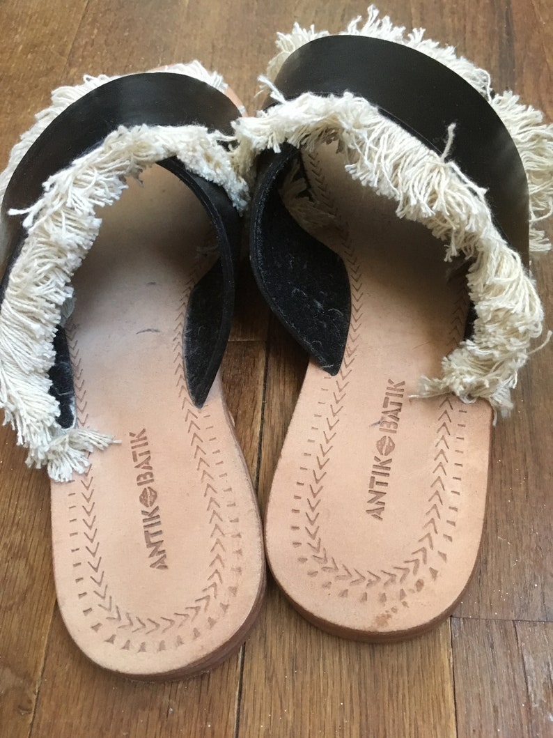vintage 90s antik batik leather alba fringe sandals women/'s shoe size 39 made in India