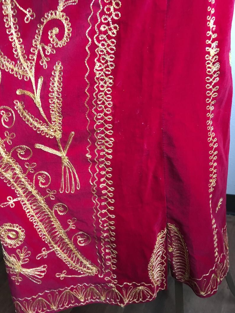 vintage 70s handmade red velvet gold brocade pullover kaftan shirt dress