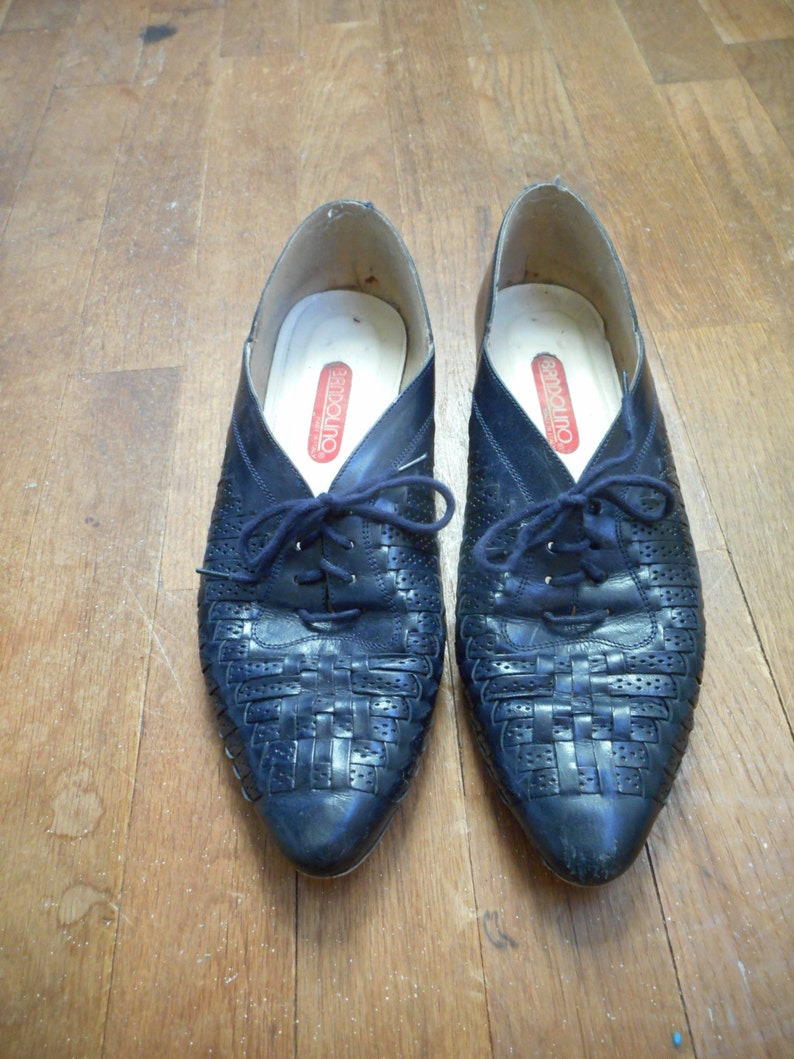vintage 80s bandolino made in italy slip on braided blue leather low vamp lace up loafers womens shoe size 9 N
