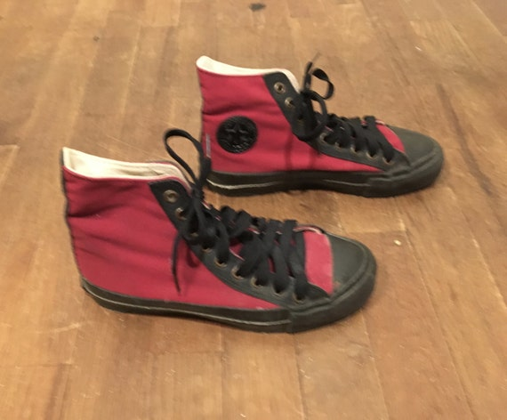 vintage made in usa converse all star hi top chuck taylor red canvas black leather trim two tone sneakers mens size 3 womens size 5