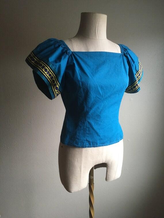 vintage 40s Mary Stevens everlasting fabrics blue… - image 3
