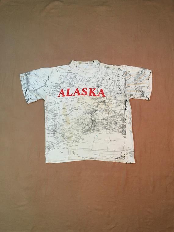 vintage 90s alaska map topography all over print c