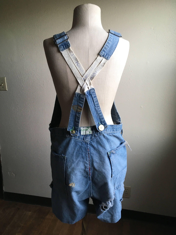 Vintage Overalls & Jumpsuits Vintage Adult Osh Kosh Bgosh Sanforized Selvedge Lucky Clover Denim Blue Jean Cut Off Bib Short Low Back Overalls $0.00 AT vintagedancer.com