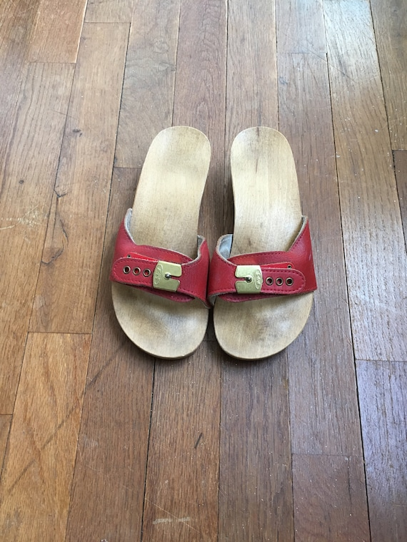 vintage dr scholl exercise sandals red leather buckle strap made in Austria women's shoe size 5