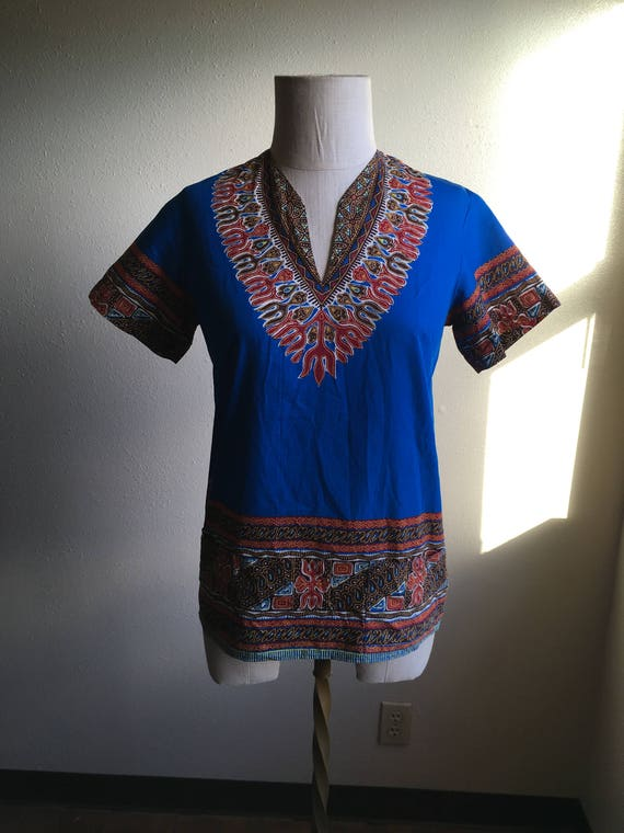 vintage african print handmade dashiki tunic shirt