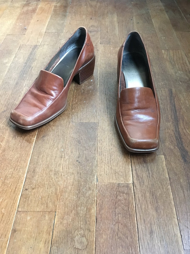 297d80c8514e6 vintage 90s enzo angiolini brown leather square moc toe chunky heel loafers  made in brazil womens shoe size 7 M