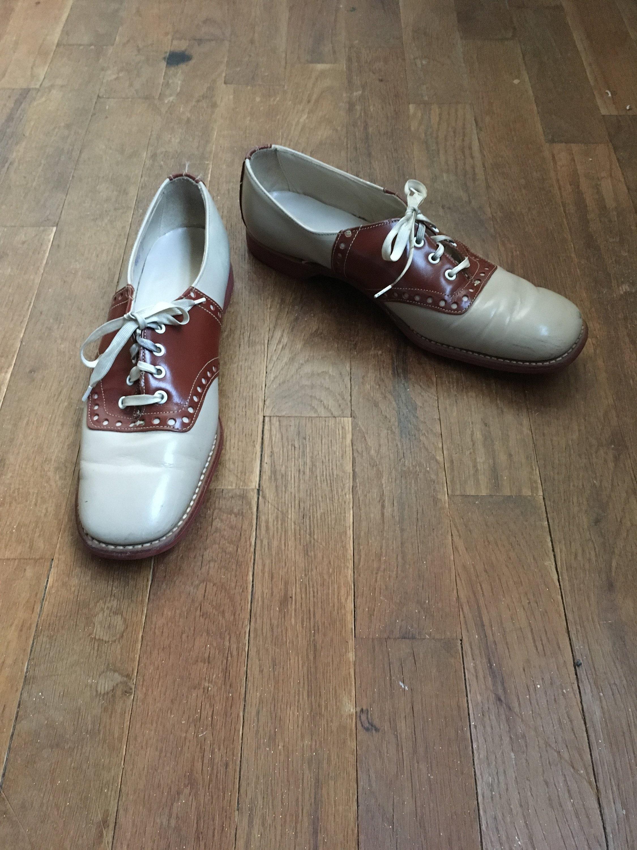 45ddeb5305b7e vintage 50s covington two tone saddle shoes womens shoe size 8 1/2 AA