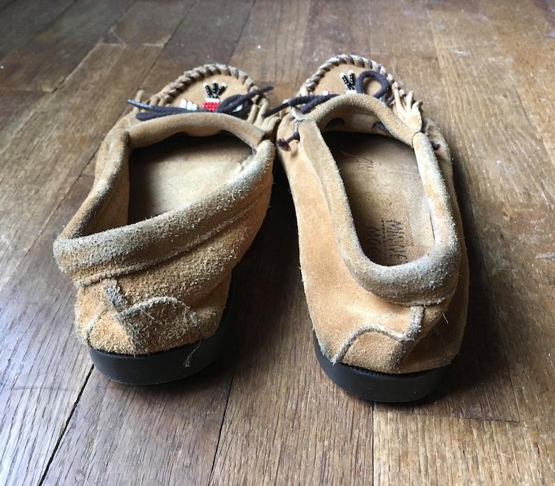 c2a655e605341 vintage 90s minnetonka brown suede tomahawk beaded fringe moccasins womens  shoe size 8