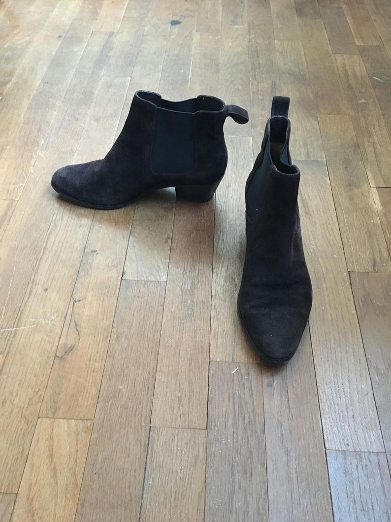 386e9a26991e8 vintage 90s via spiga brown leather suede pull on almond toe bootie chelsea  ankle boot womens shoe size 7M