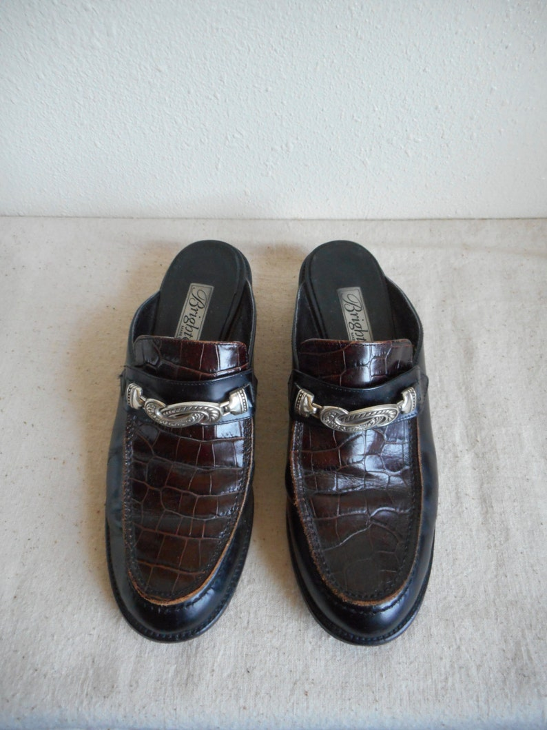 d833794b9569f vintage 90s brighton alcott italian slip on open back silver plated front  piece crocodile vamp oxford loafers womens size 10 M made in italy