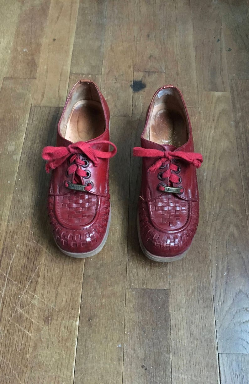 fb9e6727ce4 Vintage 70s famolare get there made in italy platform lace up