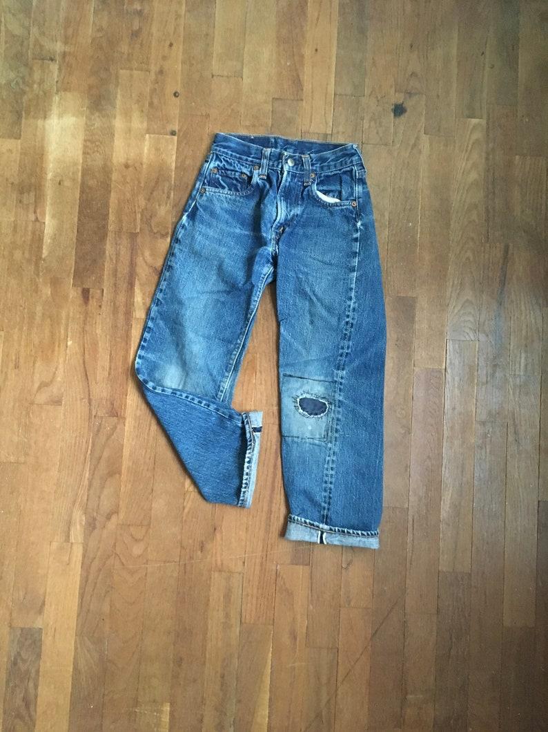 e254a215 Vintage kids levis 302 0117 red line selvedge talon 42 jeans | Etsy