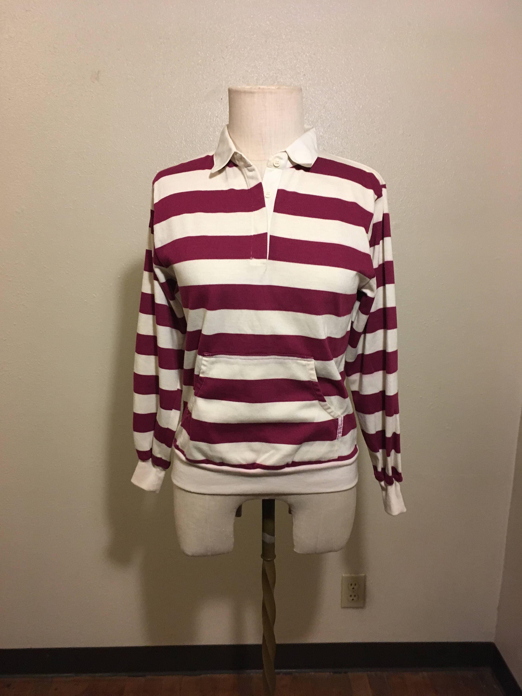 Vintage 80s Sweats Dd Bi Chego Striped Pullover Magenta White Etsy