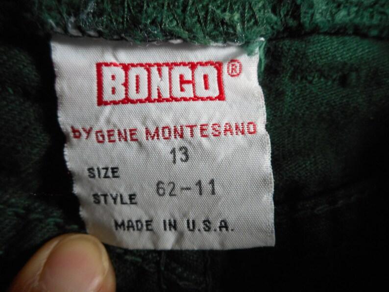 vintage 90s gene montesano bongo made in USA dark green high waist denim jeans button fly cotton