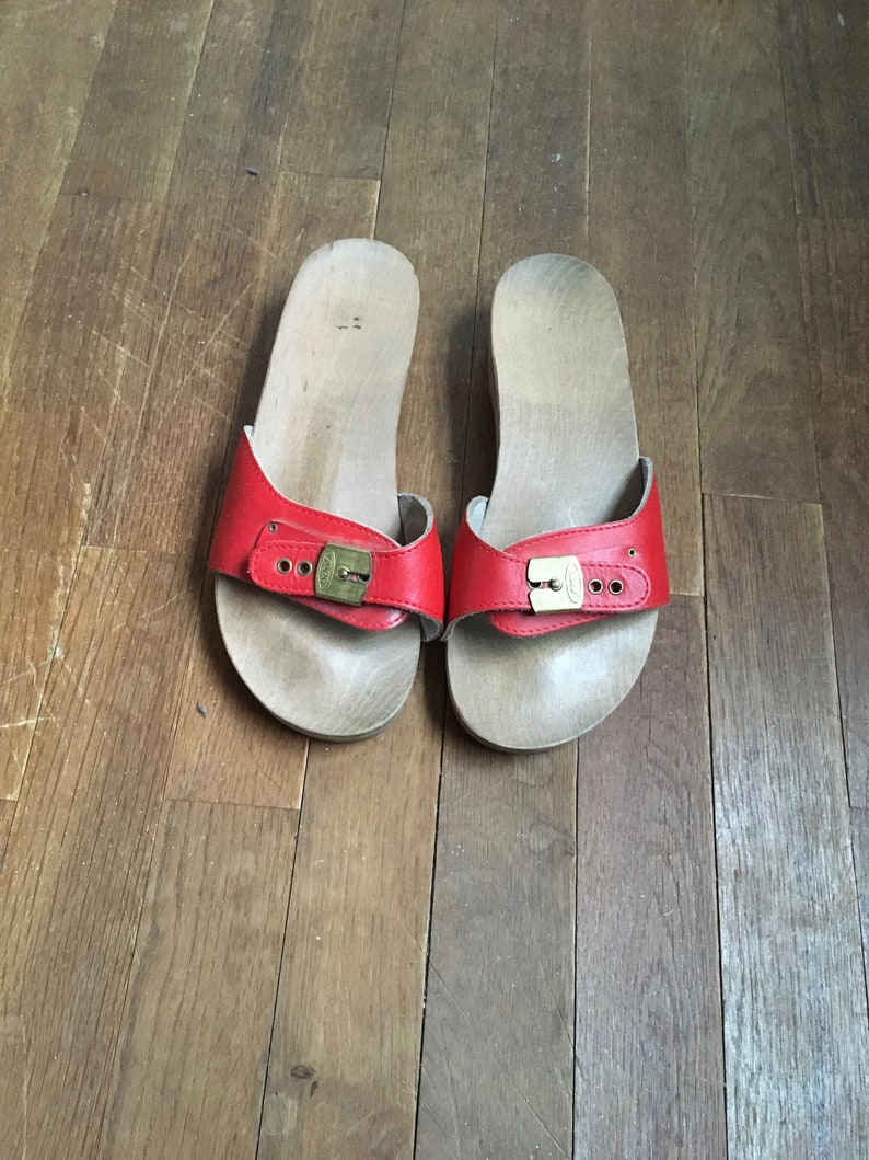 f1e023161d82 Vintage dr scholl excercise sandals red womens size 7 made in