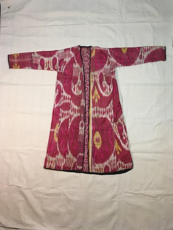 antique silk ikat cotton calico Russian Uzbek chap