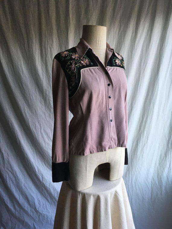 vintage 40s womens gabardine 2 tone embroidered co