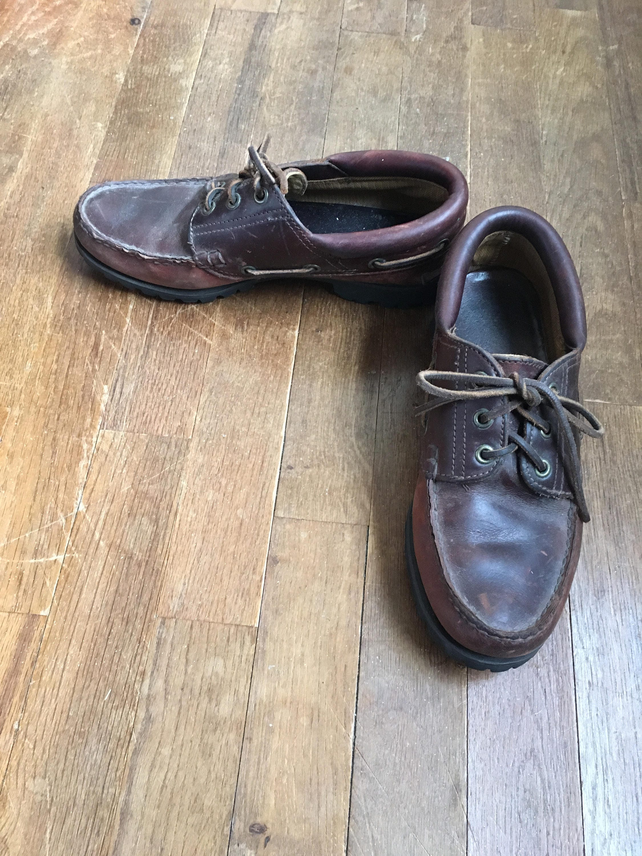 7293a9fea3bd5 vintage 90s timberland 3 eyelet classic lug moc toe moccasins mens shoe  size 6 M made in usa
