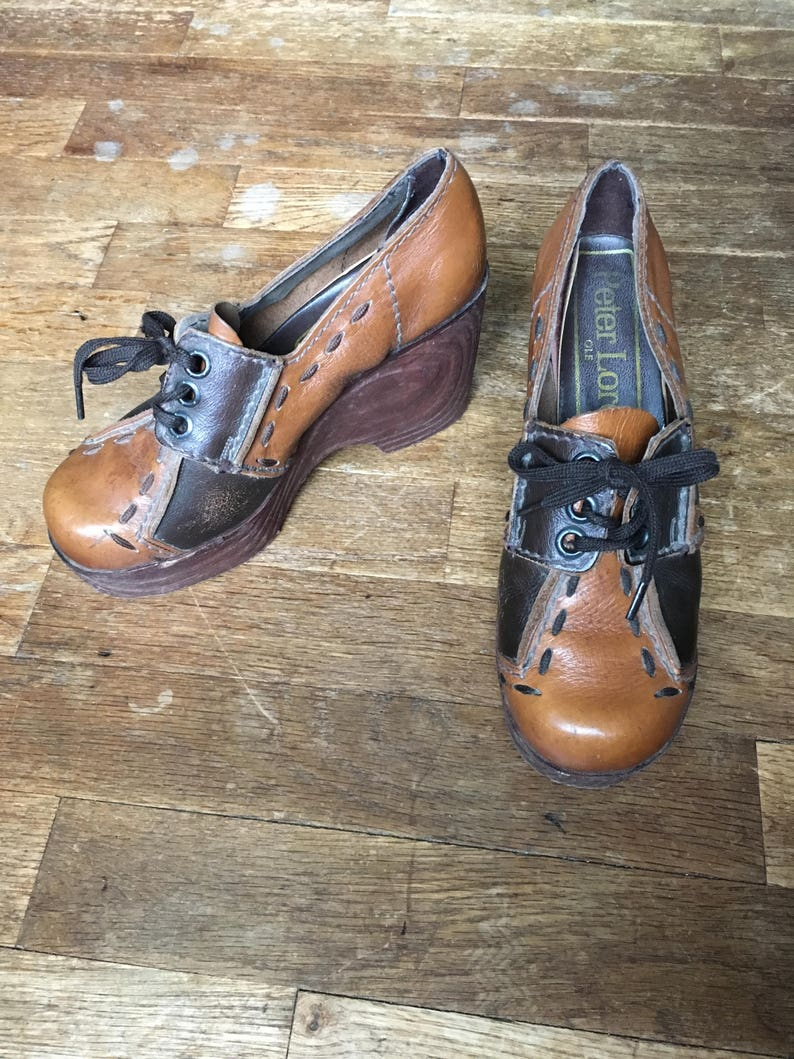 175de3afeb20f vintage 70s peter lord ole made in spain two tone brown leather color block  patchwork lace up oxford platform clogs womens shoe size 5