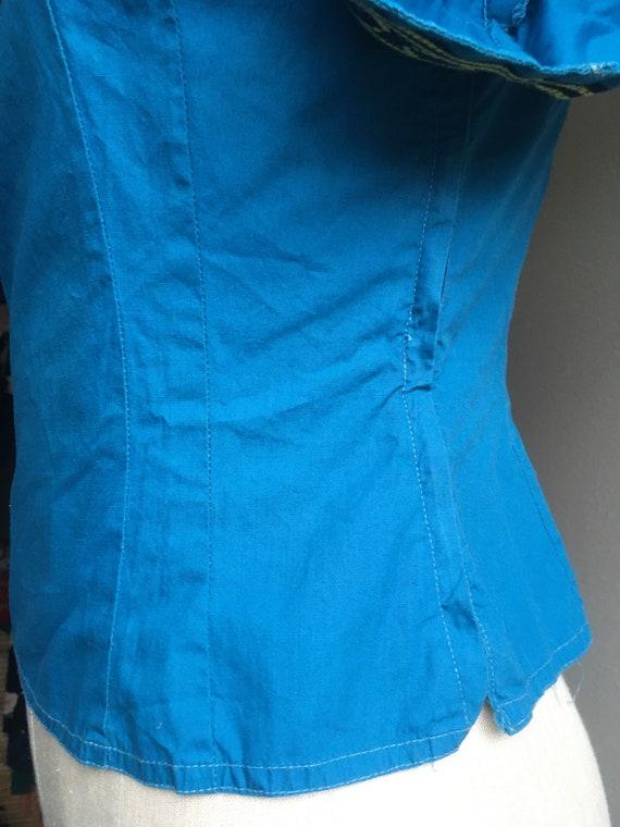 vintage 40s Mary Stevens everlasting fabrics blue… - image 2