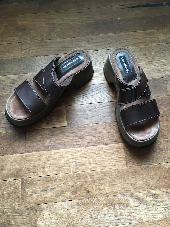 e85979948d7a1 vintage 90s candies platform clog slip on brown leather strappy sandals  womens shoe size 8 made in brazil