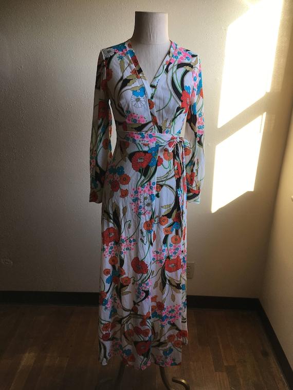 Pastel Floral Cotton Pajamas Vintage Loungewear Robe Sleep Set 70s Kimono Jacket and PJ Pants S M Small Medium