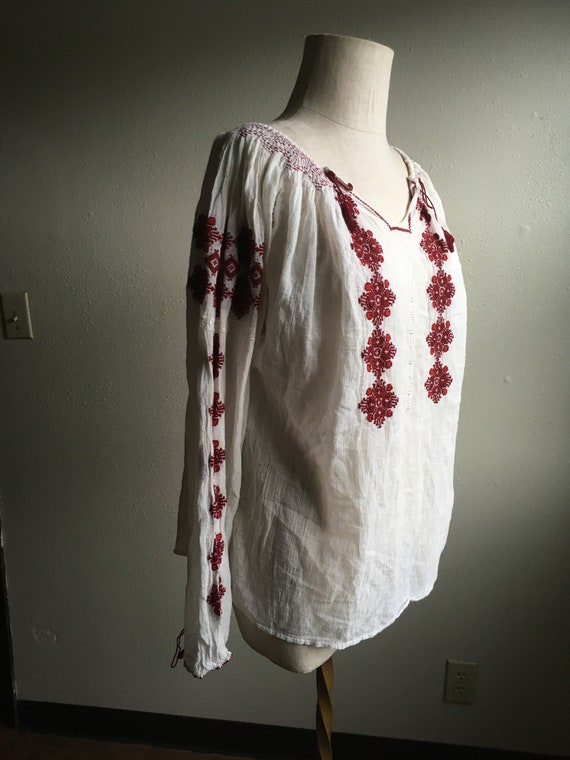 vintage Hungarian embroidery cotton gauze peasant
