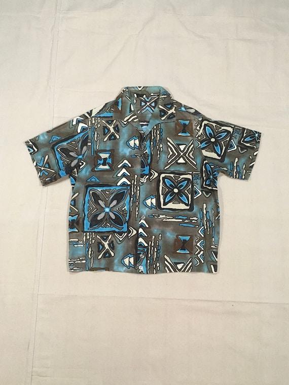 vintage 50s handmade Hawaiian shirt batik print fa