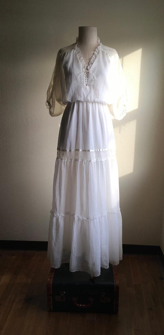 vintage 70s roberta california white gauze maxi pr