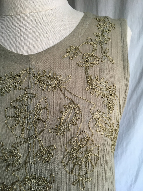 vintage 90s starina rayon embroidered green tie b… - image 3