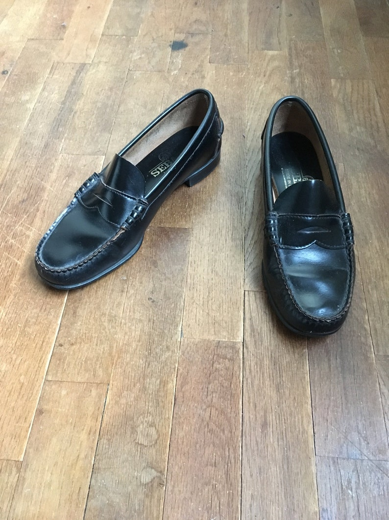 183f40cefa833 vintage sebago black leather moc toe penny loafers made in usa womens shoe  size 8 B