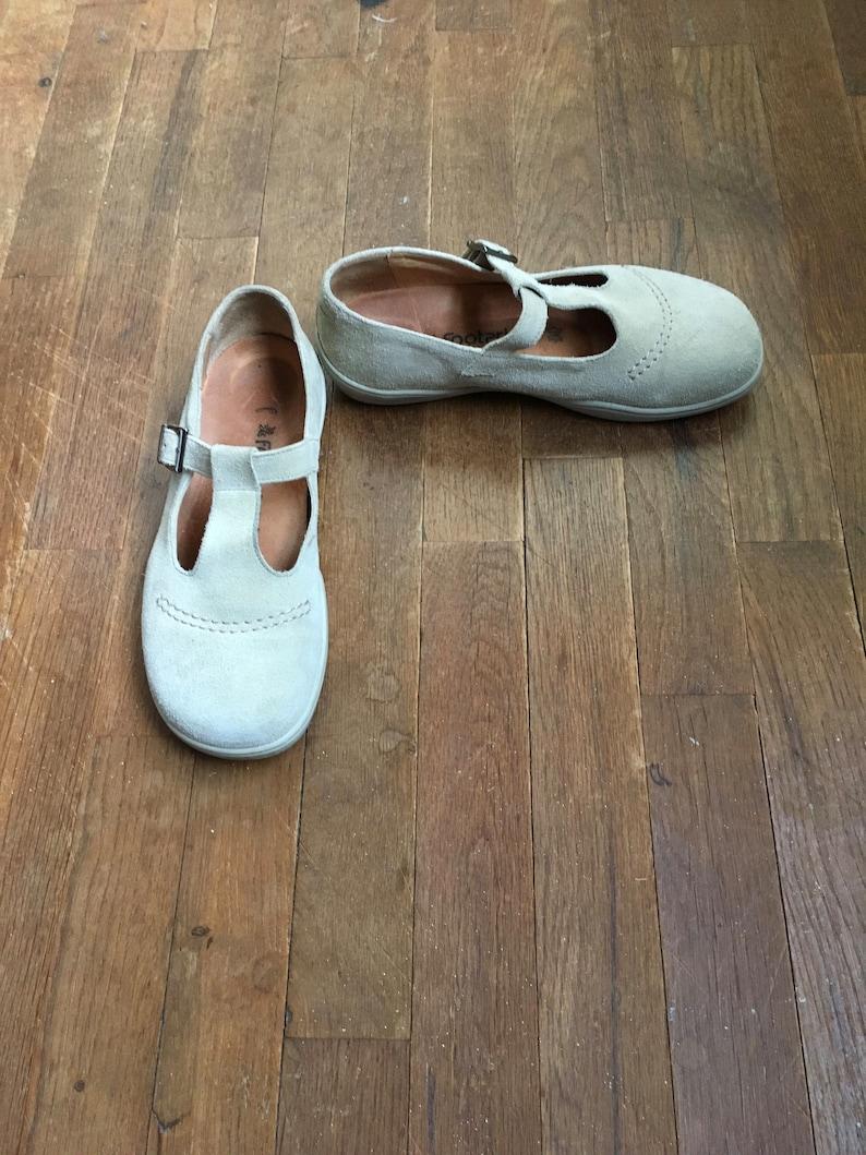 2d0713bd361a1 vintage 90s birkenstock footprints beige suede mary jane t strap buckle  womens shoe size 38 made in portugal