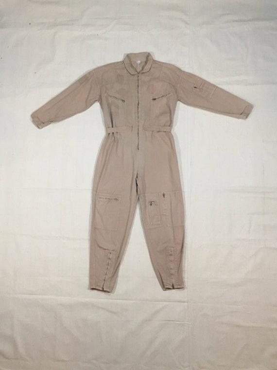 vintage 80s la chemin de fer tan cotton jumpsuit